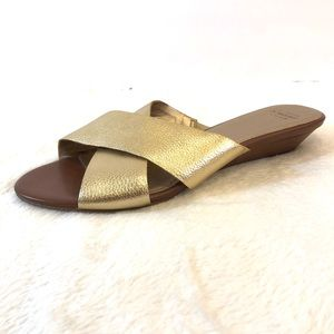 Joan & David Gold Cross Strap Wedge Sandals